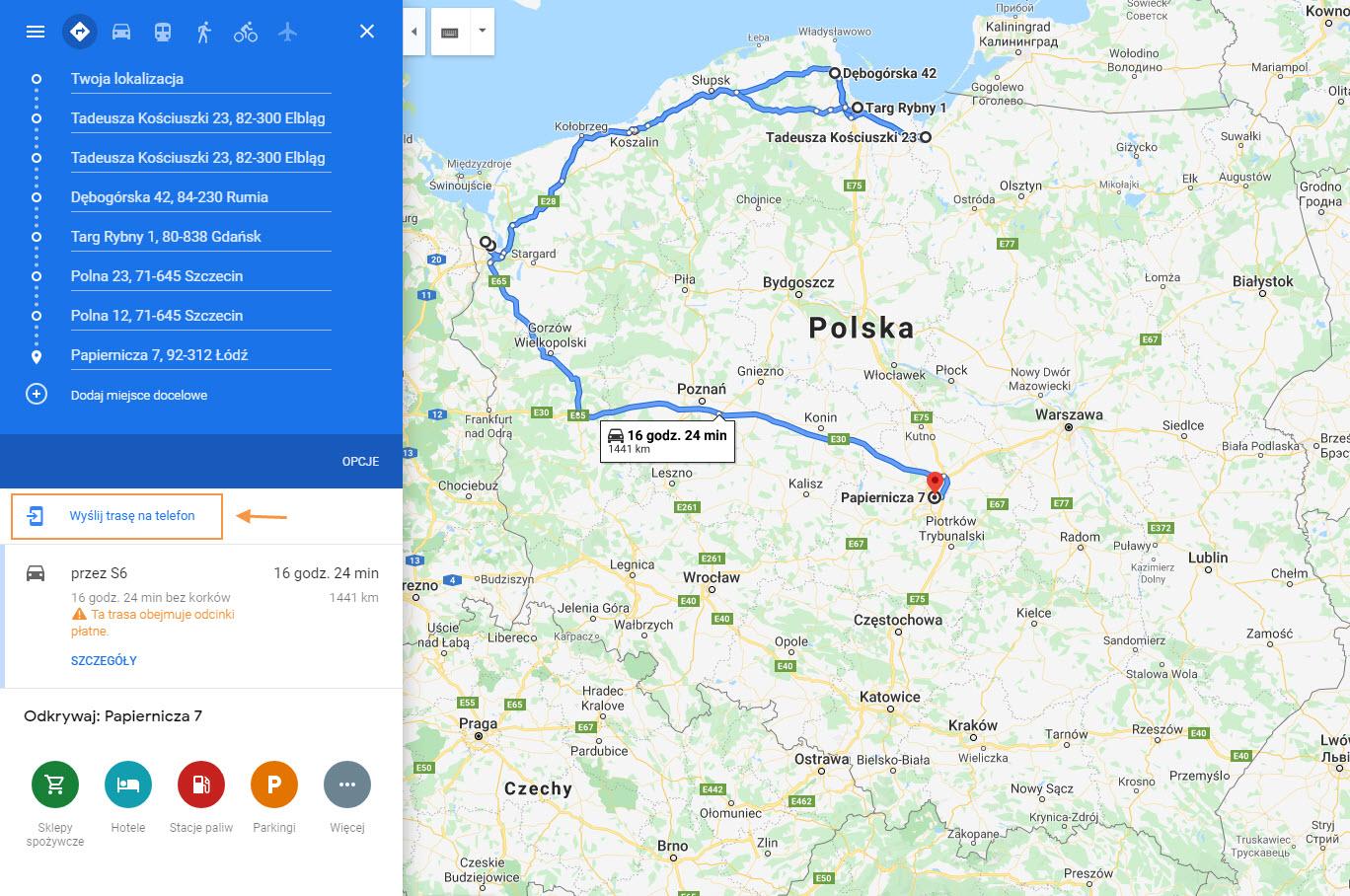 trasa dojazdu w google maps do klientów bezpośrednio z optimasales crm