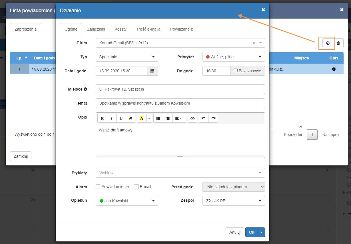 przy planowaniu działania z otrzymanego zaproszenia e-mail pozwala na integrację kalendarzy
