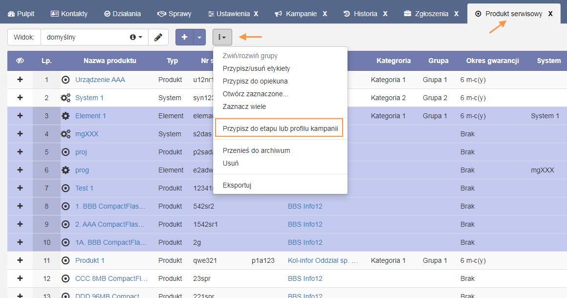 odbiorcy z listy produktow serwisowych